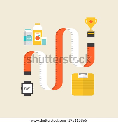 Healthy lifestyle and weight loss exercise concept, fitness diet and sport workout winning strategy. Flat design style modern vector illustration. Isolated on stylish color background. - stock vector