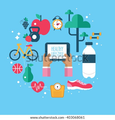 Healthy lifestyle app concept with flat modern icons. Isolated vector illustration - stock vector