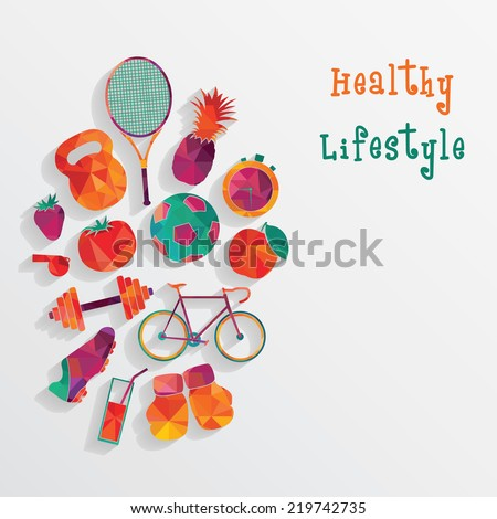 Healthy Lifestyle Background - stock vector