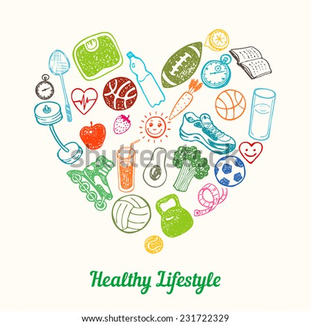 Healthy Lifestyle Background. Hand drawn Icons set in the shape of heart - stock vector