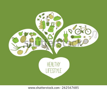 Healthy lifestyle components - healthy meal, sport, eco living. Green color.