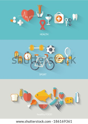 Healthy lifestyle concept in flat style.  - stock vector