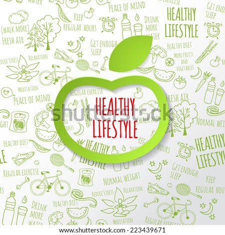 Healthy lifestyle concept with green paper apple form. Vector hand drawn doodle background  - stock vector