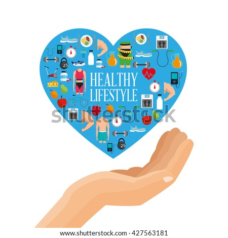 Healthy lifestyle design. bodycare icon.  Colorful illustration