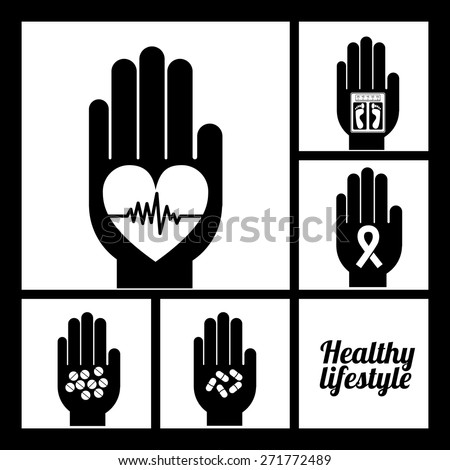Healthy lifestyle design over black background, vector illustration - stock vector