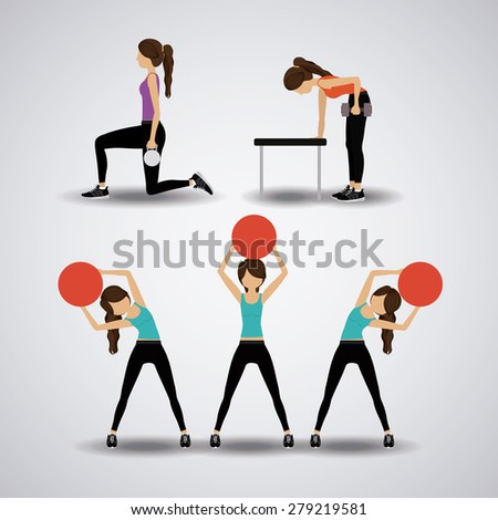 healthy lifestyle design over white background, vector illustration - stock vector