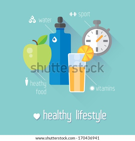 Healthy lifestyle flat illustration. Food, water and sport - stock vector