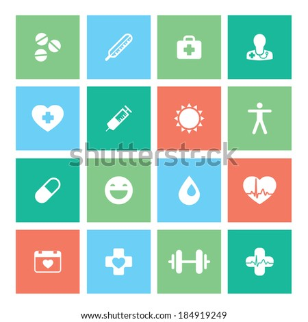 Healthy lifestyle flat square icon set. Stylish and modern color palette. Vector illustration. Layered file - stock vector