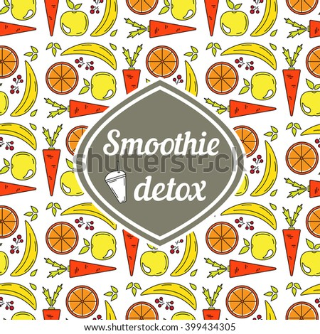 Healthy lifestyle. Food, water and detox. Smoothie print.