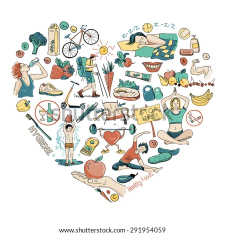 Healthy Lifestyle Heart Background, excellent vector illustration, EPS 10 - stock vector