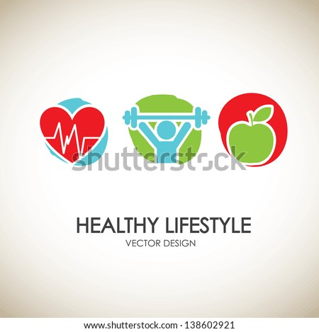 healthy lifestyle icons over vintage background vector illustration - stock vector