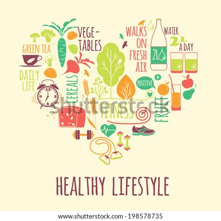 healthy lifestyle Icons set in the shape of heart - stock vector
