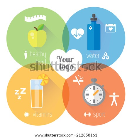 Healthy lifestyle illustration and info graphic. Food, water, sport.  Vector modern flat design element - stock vector