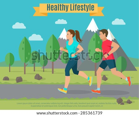 Healthy lifestyle illustration . Woman and man jogging . - stock vector