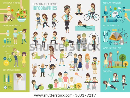 Healthy lifestyle infographic set with charts and other elements. Vector illustration. - stock vector