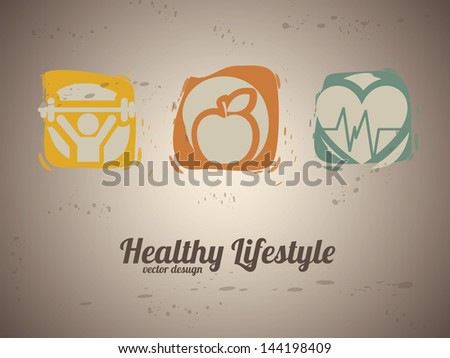 healthy lifestyle over vintage background vector illustration - stock vector
