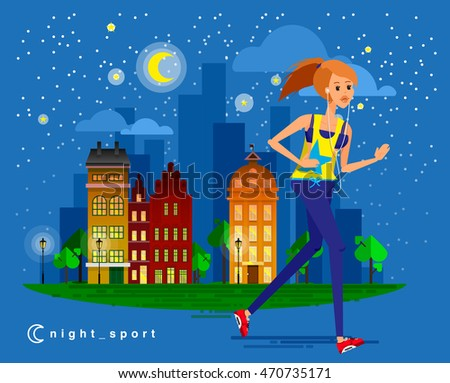 Healthy lifestyle people flat vector design, night summer and spring cityscape run fitness workout running woman with city street background. Bright friendly smiling sport female character running