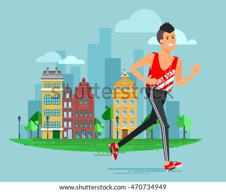 Healthy lifestyle people flat vector design, summer cityscape run fitness workout running man with urban city street background. Bright friendly smiling sport male character running