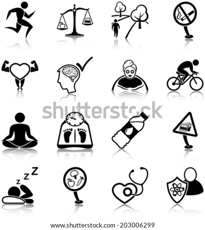 Healthy lifestyle related icons/ silhouettes - stock vector