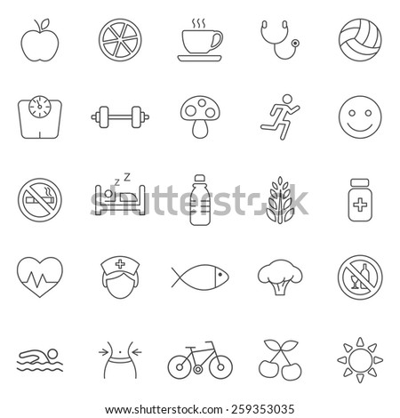 Healthy   line icons set.Vector - stock vector