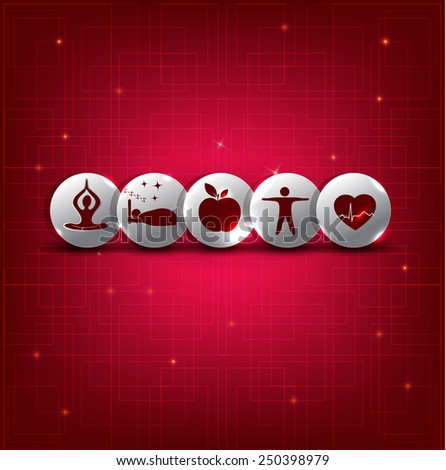 Healthy living symbol set on a beautiful bright red background with light lines.  - stock vector
