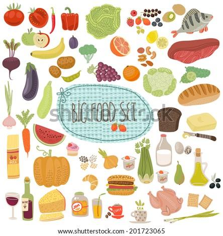 Healthy menu, food illustrations collection set - stock vector
