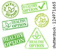 Healthy option.  Grungy rubber stamp vector illustrations - stock vector