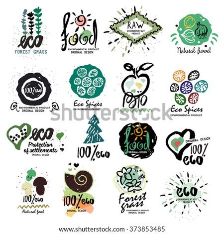 Healthy organic food labels for vegetarians logo. Restaurant, vegetarian cafe menu sign, symbol. Logo handmade on the subject of ECO, Nature biotechnology, vegan symbol. Health, vegetarianism logotype - stock vector