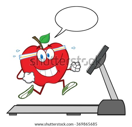 Healthy Red Apple Cartoon Character Running On A Treadmill With Speech Bubble. Vector Illustration Isolated On White - stock vector