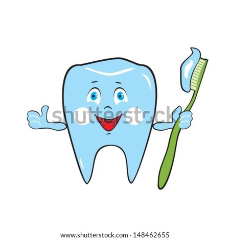 Healthy tooth holds a toothbrush.Vector. EPS-10 (non transparent elements, non gradient)