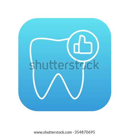 Healthy tooth line icon for web, mobile and infographics. Vector white icon on the blue gradient square with rounded corners isolated on white background. - stock vector