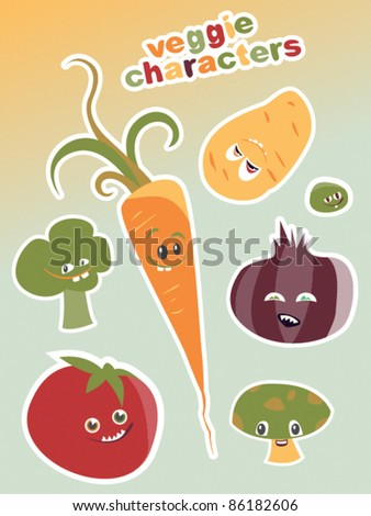 Healthy Vegetable Characters - stock vector