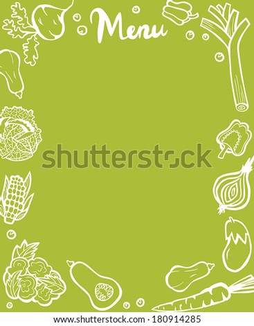 Healthy Vegetable Menu Template White Outlines on Green Background - stock vector