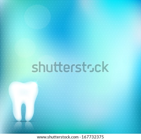 Healthy white tooth background design, beautiful light blue color, clear and accurate design - stock vector