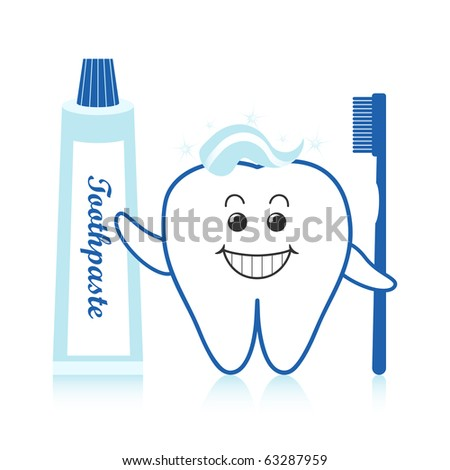 Healthy white tooth with toothpaste and toothbrush. - stock vector