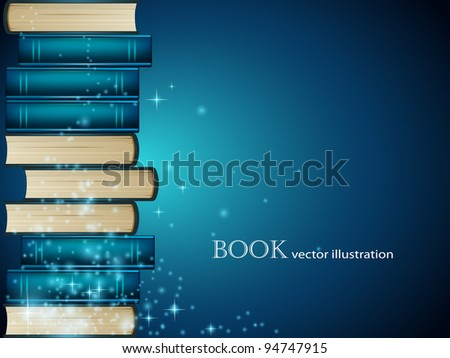 Heap of books on dark blue background - stock vector