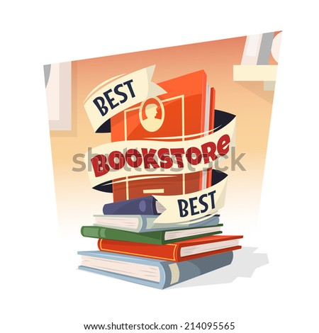 Heap of books with Best Bookstore text. Vector illustration. - stock vector