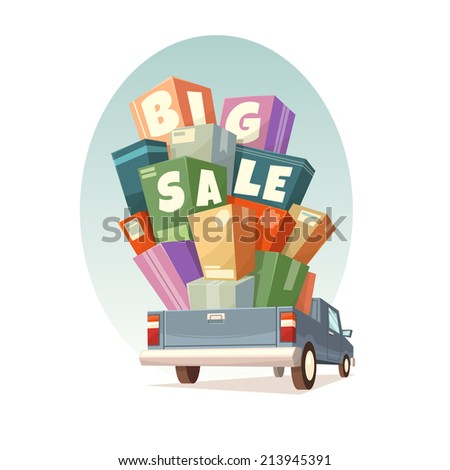 Heap of boxes on pickup with Big Sale text. Vector illustration. - stock vector