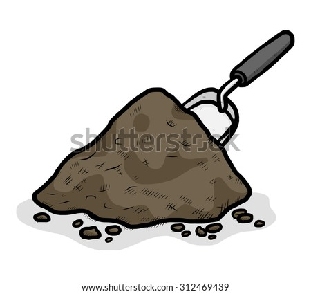 heap of soil and garden shovel / cartoon vector and illustration, hand drawn style, isolated on white background. - stock vector