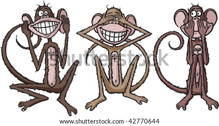 Hear,see and speak no evil cartoon Chimpanzees. Layered vector file.
