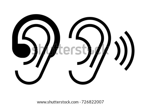 Hearing Aid Ear Icon Hearing Symbol Stock Vector 726822007