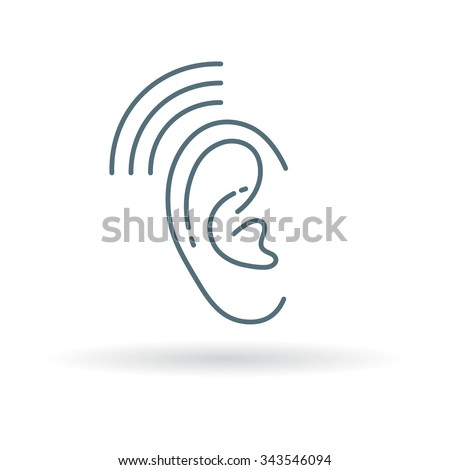 Hearing Aid Icon Ear Sign Volume Stock Vector 343546094 Shutterstock