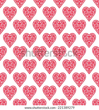 Heart - abstract seamless ornament, stencil pattern, cut out design, love decor element, valentine's day - stock vector