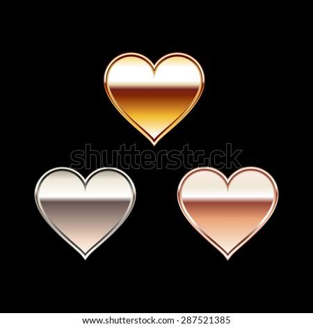 Heart accessory illustration.  Gold heart. Silver heart. Bronze heart symbol. Heart sticker. - stock vector