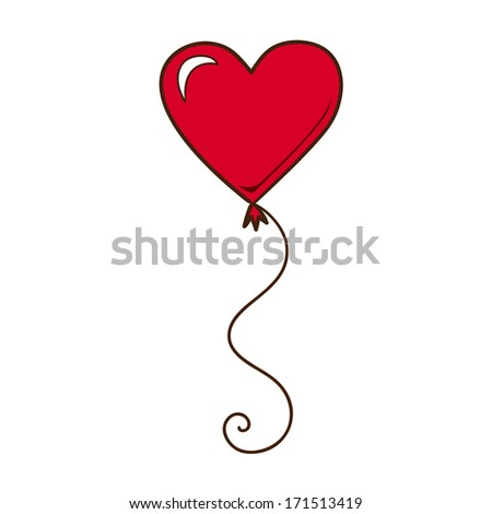 Heart air balloon isolated on white. Sketch vector element for romantic design