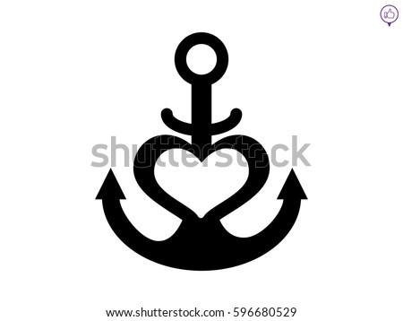 Anchored Anchor Heart Flat Icon Apps Stock Vector ...