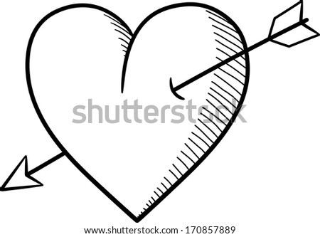 Heart and arrow illustration, sketch style. - stock vector