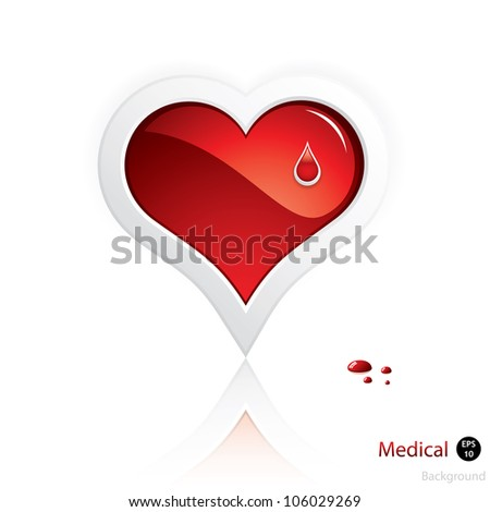 Heart and blood drop isolated on white background.Medical vector