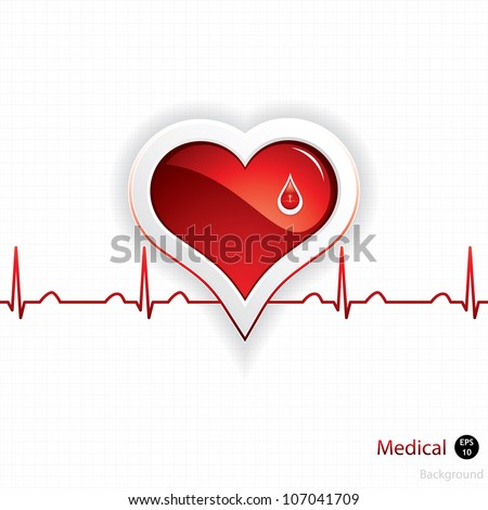 Heart and blood drop.Medical vector - stock vector