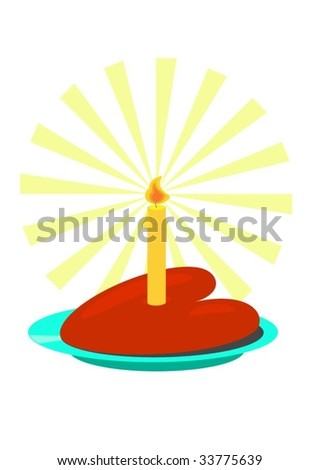 Heart and candle on plate. Isolated Abstract Vector Illustration.